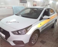 Светоотражающая желтая полоса на такси МАГНИТ